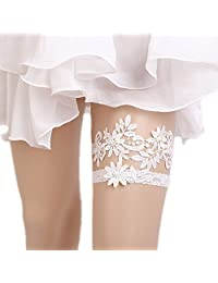 WoodBury Wedding Garter for Bride Lace Bridal Garter White
