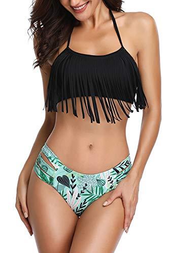 - Heat Move Women Retro Tassel Bikini Halter Neck Two Piece Swimsuit with Hipster Bottom (Large, Black)