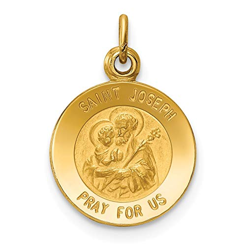 14k Yellow Gold Saint Joseph Medal Pendant Charm Necklace Religious Patron St Fine Jewelry Gifts For Women For Her (Joseph Medallion)