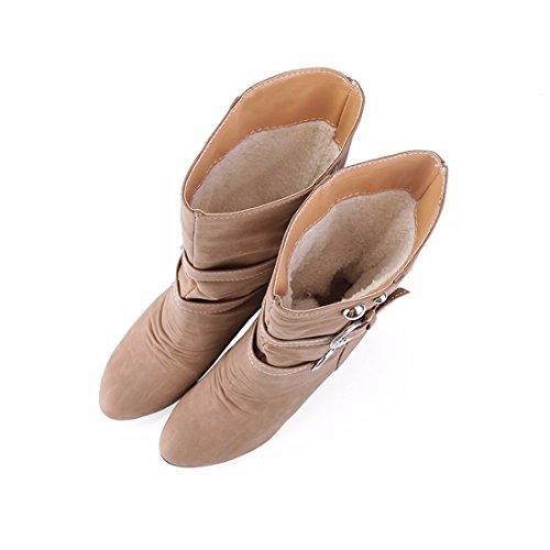 botas tamaño hebilla Tubo Terry clásico Grey botas 68qwpOw