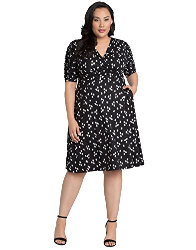Kiyonna Women's Plus Size Gabriella Dress 0X Retro Onyx Abstract