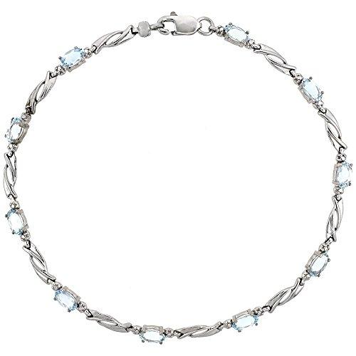 10k White Gold Swirl Tennis Bracelet 0.05 ct Diamonds & 2.50 ct Oval Aquamarine, 1/8 inch wide ()