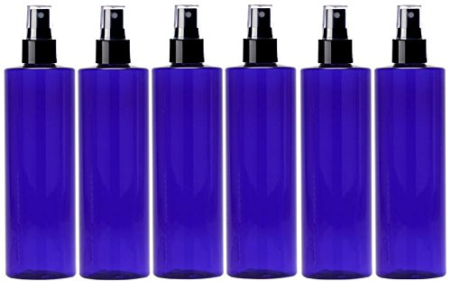 Newday Bottles, Plastic Bottles Cobalt blue 8 Oz PET Cylinder Empty Squeeze Refillable Bottle BPA Free with Black Smooth Fine Mist Spray Sprayer Heads and Clear Over-cap, Pack of (Cylinder Spray Bottle)