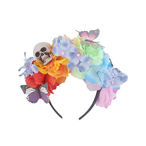 FEDULK Womens Adjustable Headband Spider Mesh Halloween Headdress Rose Flower Prom Accessories(Blue)