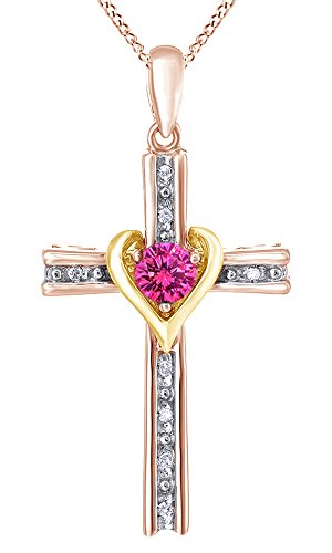 AFFY Round Cut Simulated Sapphire & Natural Diamond Cross Pendant In 14K Rose Gold Over Sterling Silver