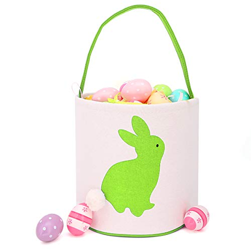 Easter Bunny Ears Basket Canvas Bags Buckets Tote Stuffers Egg Hunt for Girls and Boys - Cylinder Green