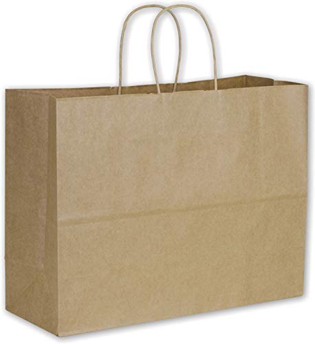 Solid Color Pattern Shopping Bags - Recycled Kraft Paper Shoppers Vogue, 16 x 6 x 12 1/2