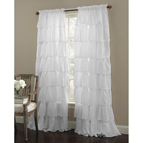 Awad Home Fashion 1 Piece Gypsy Ruffled Window Curtain Treatment Panel Drapes (55