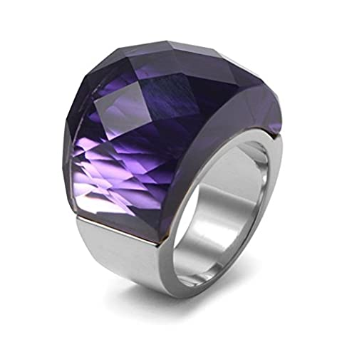 Womens Stainless Steel Purple Super Sized Crystal Ring Wedding Promise Engagement, Base,Size (Acciaio Inossidabile Nero Gemma)