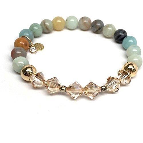 Chloe Sterling Silver Bracelet - Green Amazonite Swarovski Crystal