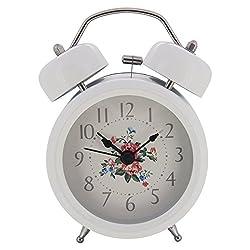 Konigswerk 3 Non-ticking Quartz Analog Twin Bell Alarm Clock With Nightlight (White) AC049-1G