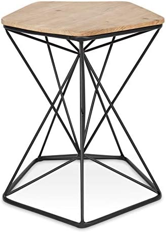 Kate and Laurel Ulane Modern Side Accent Table with Geometric Metal Base and Unfinished Natural Wood Top, Black
