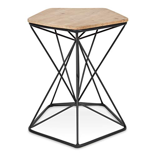- Kate and Laurel Ulane Modern Side Table, Geometric Shape Wood Top and Metal Wire Base, Two-Tone Finish in Black and Natural Light Brown