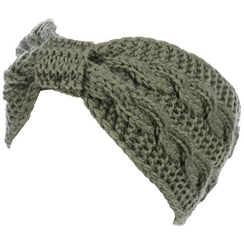 - Womens Winter Boho Chic Classic Cable Bow Knotted Crochet Knitted Turban Headband Headwrap