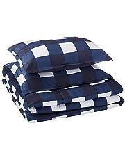 AmazonBasics Comforter Set, Full / Queen, Navy Oversized Gingham, Microfiber, Ultra-Soft