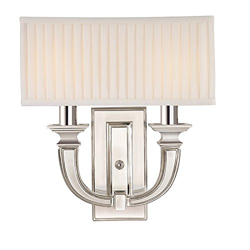 - Phoenicia 2-Light Wall Sconce - Polished Nickel Finish with Off White Linen Shade