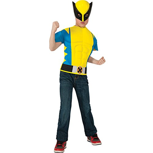 Boys Wolverine Shirt Kids Child Fancy Dress Party Halloween Costume, One -