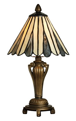 Tiffany Style Table Lamp Stained Glass Mini Small Accent Decorative Antique Baroque Lighting Coffee End Table Desk Bedroom Living Room Bedside Reading Night Light Cream Beige Black Colored 14 X 8 inch
