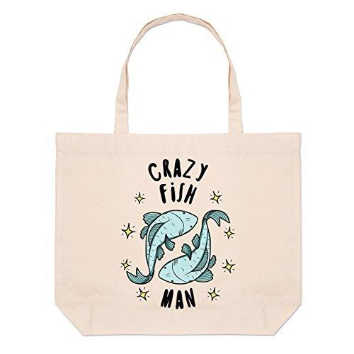Crazy peces Hombre Estrellas Grande Bolso Playa Bolsas