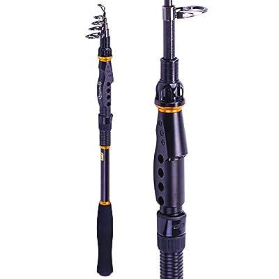 Sougayilang Fishing Rod - 24 Ton Carbon Fiber, Portable Telescopic Super Hard Ultralight Fishing Pole for Travel Surf Saltwater Freshwater Bass Boat Fishing by Sougayilang