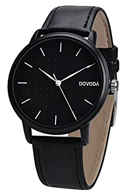 Dovoda Watches for Men Casual Classy Quartz Black Leather