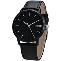DOVODA Watches for Men Classy Stylish Quartz Analog Black Leather Strap Male Dress Watch