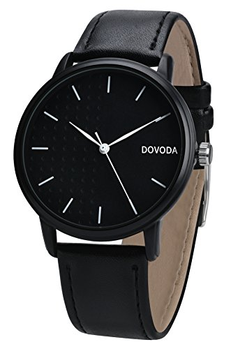 Black Leather Analog (DOVODA Watches for Men Classy Stylish Quartz Analog Black Leather Strap Male Dress Watch)