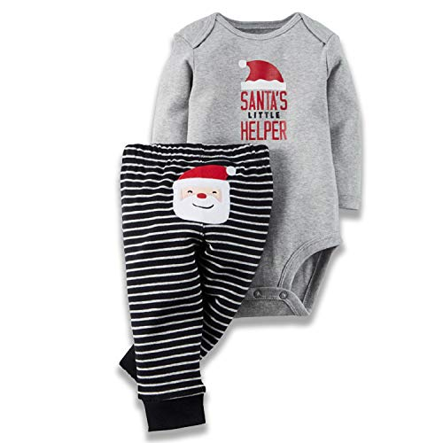 Unmega Christmas Baby Boy Girl Xmas Clothes My First Christmas Romper with Stripe Pants Outfit (Gray, 90/12-18 Months) -