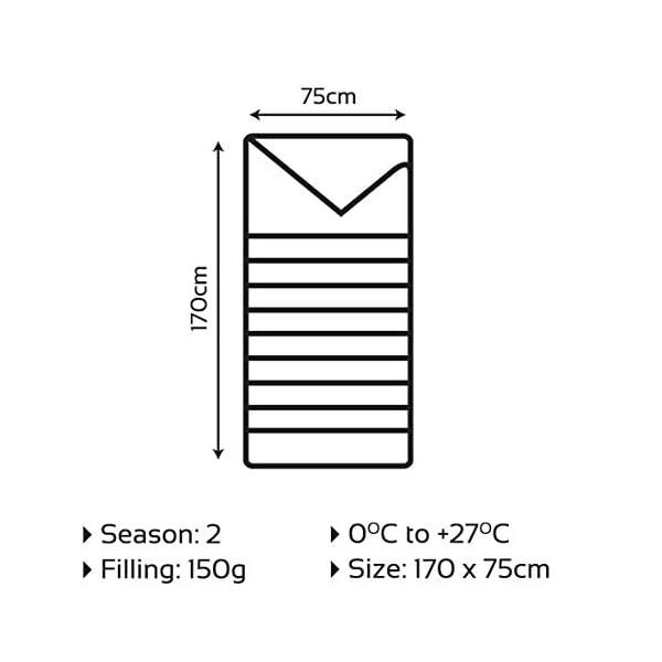 Milestone Camping 26700 Envelope Sleeping Bag 2 Season Single Insulation Grey /&