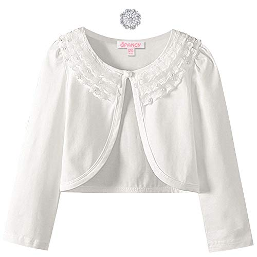 Lace Shrugs for Toddler Girls Long Sleeve Bolero Jacket Cardigan White