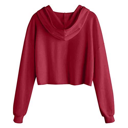 Aibayleef Redondo Con Rojo Imperio Capucha Mujer Corte Sudadera x4rpFq
