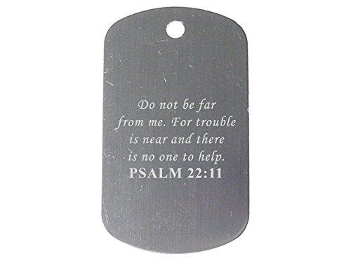"""Bible Psalm 22:11 Gray Dog Tag 24"""" Chain and Silencer Custom Engraved By NDZ Performance"""
