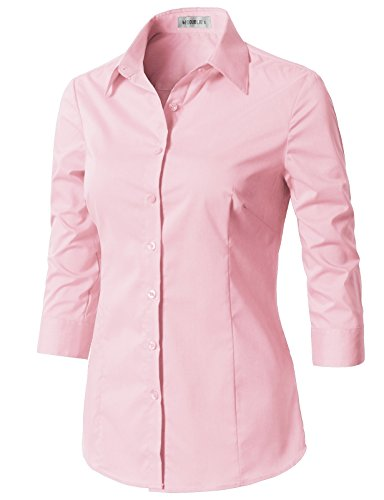 (CLOVERY Women's Basic Stretchy 3/4 Sleeve Slim Fit Button Down Collared Shirt Babypink S)