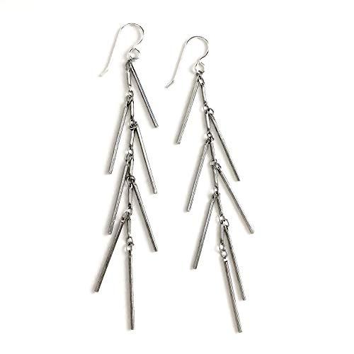 Sterling Silver Bar Fringe Cluster Tassel Earrings ()