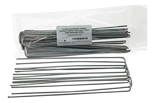 Halloween Decorations Made With Chicken Wire (Pinnacle Mercantile 20-Pack 12 Inch Garden Stakes Galvanized Landscape Staples Heavy Duty Anti Rust Ground Anchor Fence Pegs Strong Durable Steel USA)