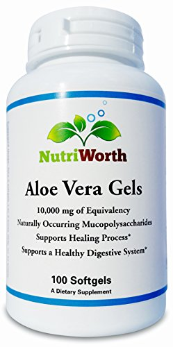 Mucopolysaccharide Concentrate (NutriWorth Organic Aloe Vera Gels, 10,000mg, Non-GMO, 200:1 Ratio, 100)