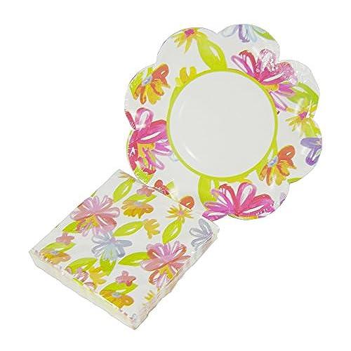 Flower Art Scalloped Paper Dessert Plates and Beverage Napkins Set - 34-pc Set  sc 1 st  Amazon.com & Flower Paper Plates: Amazon.com