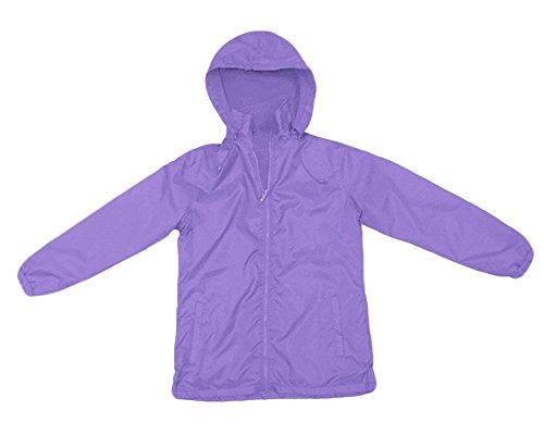 Apparel No. 5 Women's Full Zip Nylon Shell Fleece Lined Hooded Windbreaker,Large,Light Purple