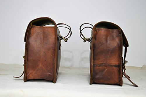 Handmade Bag Wala Saddle Bags Motorcycle Two Side Pouch Brown Leather Pouch Saddle Panniers (2 Bags) by Handmade Bag Wala (Image #1)