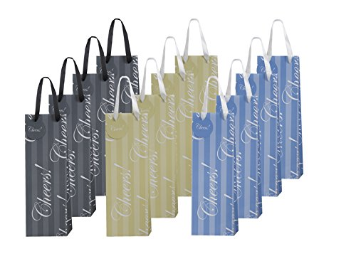 "12 Piece Elegant Wine Bags ""Cheers"", 3 Assorted Colors"