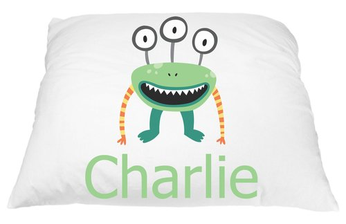 Personalized Three Eyed Monster to help Fight Bad Dreams Pillow Case for Kids, Halloween Home Decor Kids, Custom pillow case for all youth, Friendly Monster Pillow Case, Microfiber 20x30 In ()