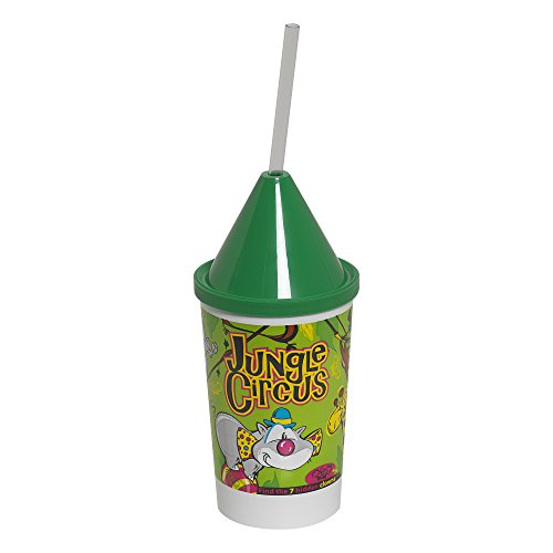 Dixie 10KD271016 3 Piece Jungle Circus Kid's Favorites Collectible 10 oz Cups, Lids and Clear Straws Set (Case of 400 cups, 400 lids, and 400 straws)