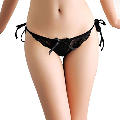15dfb179a Milly Store Women Cotton Panties Bowknot Ribbons Lace Thongs Panties  Adjustable G-String Underwear (Black)