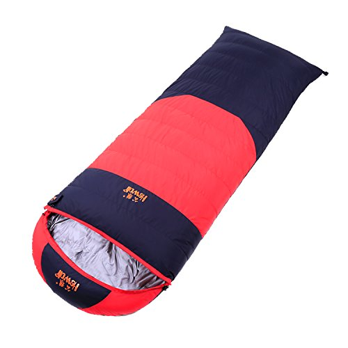 Hewolf Extreme 4 SeasonsWinter Ultra Light Sleeping Bag Duck Down for Adults Camping (red, Duck Down 1500g (total weight 2300g); -20~-5 degree) by Hewolf