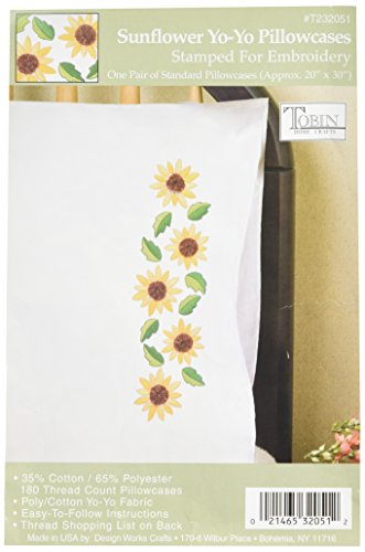 (Tobin Stamped Pillowcase Pair Stamped Cross Stitch Kit for Embroidery, 20 by 30-Inch, Sunflower Yo-Yo )