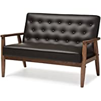 Baxton Studio Sorrento Mid-Century Retro Modern Faux Leather Upholstered Wooden 2-Seater Loveseat, Brown