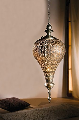 (PierSurplus Antique Silver Oriental Metal Hanging Pendant Light Candle Lantern - Large Product SKU: CL221835)