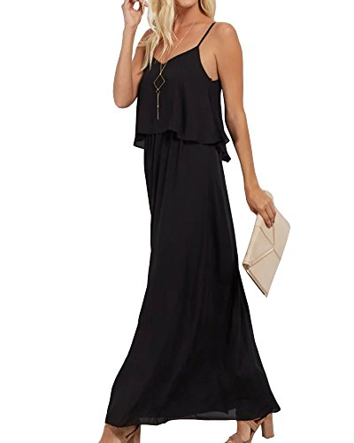 LEANI Women's Chiffon V Neck Spaghetti Strap Sleeveless Long Maxi Dress Evening Dress - Black Chiffon Ruffle