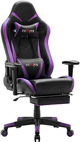 Silla gaming ergonomica para ordenador con masaje soporte lumbar, E-Sports sillas de gaming para ordenador, silla de juego con cojin reposacabezas, sillon gaming con reposapies (morado)