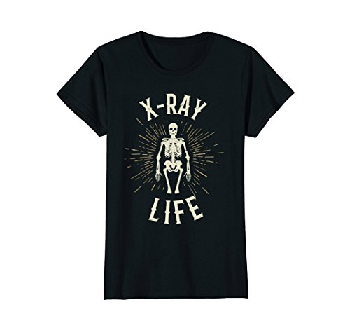 Womens Funny X Ray Tech T Shirt Life Skeleton Tee Xray XL Black (Tech T-shirt X-ray)